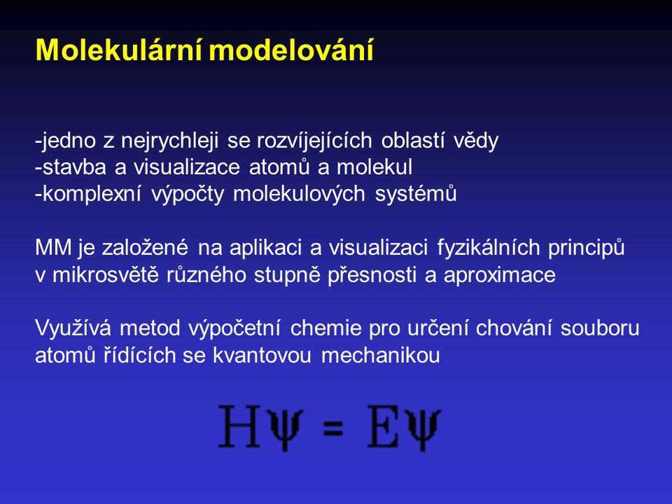 Molekulární modelování -jedno z nejrychleji se rozvíjejících oblastí vědy -stavba a visualizace atomů a molekul -komplexní výpočty molekulových systém