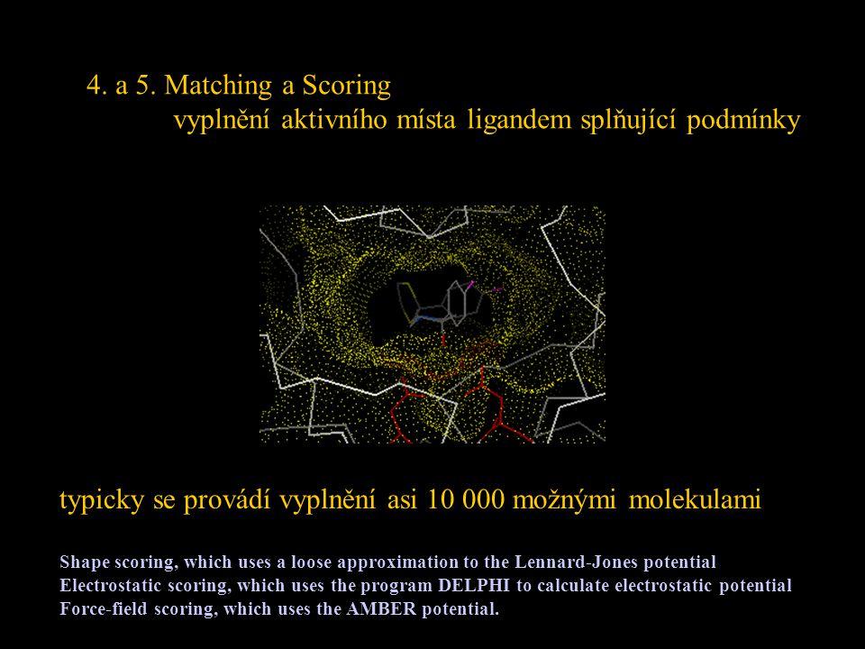 4. a 5. Matching a Scoring vyplnění aktivního místa ligandem splňující podmínky typicky se provádí vyplnění asi 10 000 možnými molekulami Shape scorin