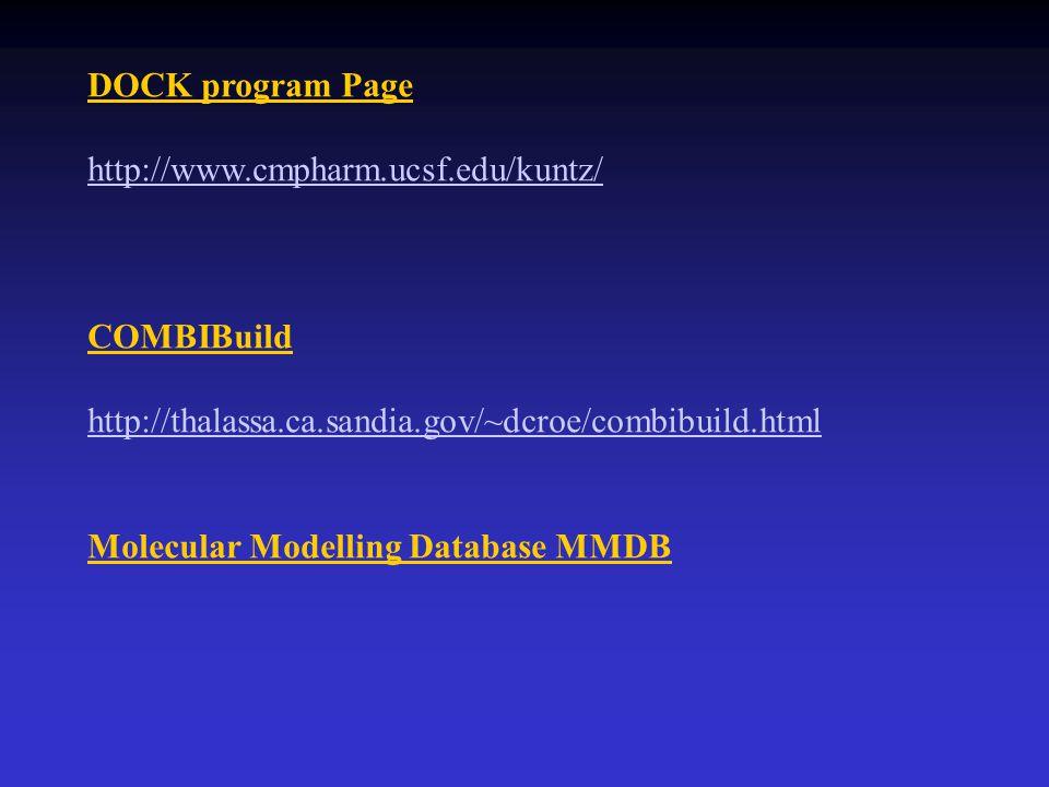 DOCK program Page http://www.cmpharm.ucsf.edu/kuntz/ COMBIBuild http://thalassa.ca.sandia.gov/~dcroe/combibuild.html Molecular Modelling Database MMDB
