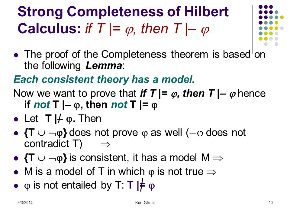 9/3/2014Kurt Gödel10 Strong Completeness of Hilbert Calculus: if T |= , then T |–  The proof of the Completeness theorem is based on the following Lemma: Each consistent theory has a model.