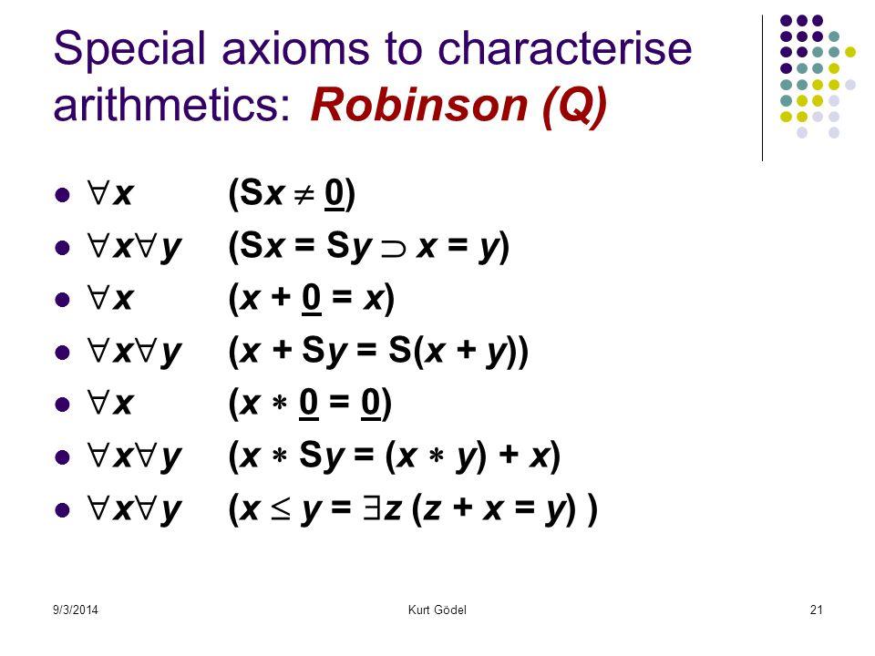 9/3/2014Kurt Gödel21 Special axioms to characterise arithmetics: Robinson (Q)  x (Sx  0)  x  y (Sx = Sy  x = y)  x (x + 0 = x)  x  y (x + Sy =