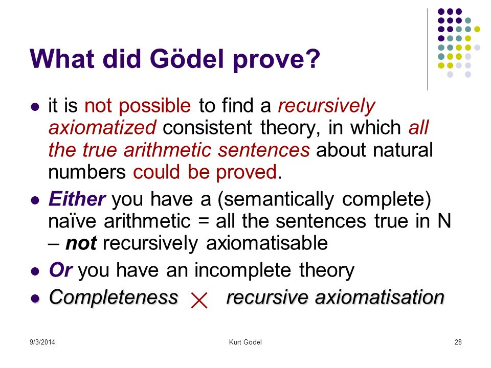 9/3/2014Kurt Gödel28 What did Gödel prove.