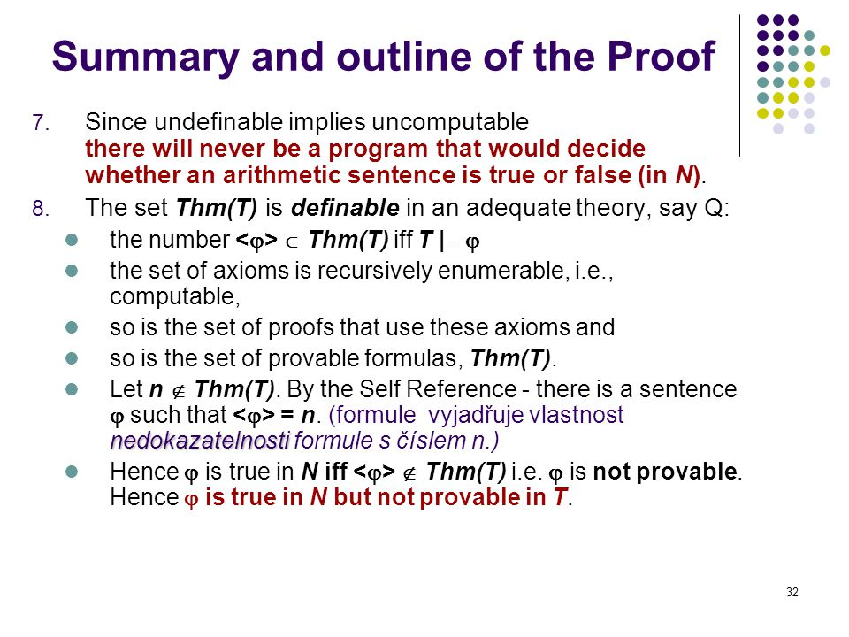 32 Summary and outline of the Proof 7.