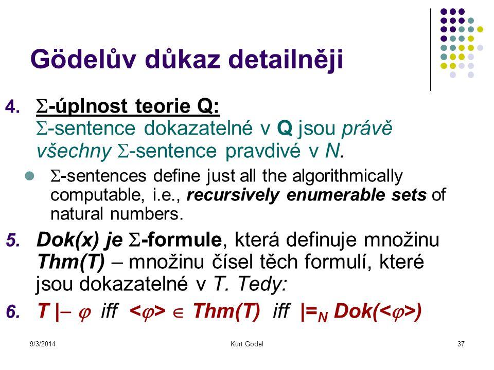 9/3/2014Kurt Gödel37 Gödelův důkaz detailněji 4.  -úplnost teorie Q:  -sentence dokazatelné v Q jsou právě všechny  -sentence pravdivé v N.  -sent