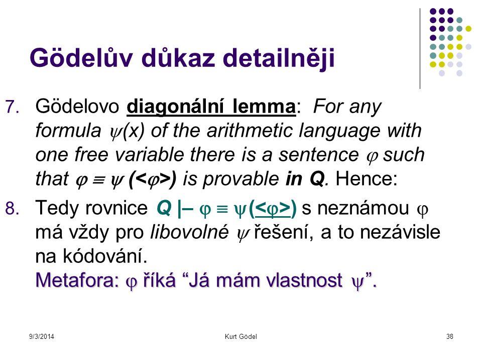 9/3/2014Kurt Gödel38 Gödelův důkaz detailněji 7. Gödelovo diagonální lemma: For any formula  (x) of the arithmetic language with one free variable th