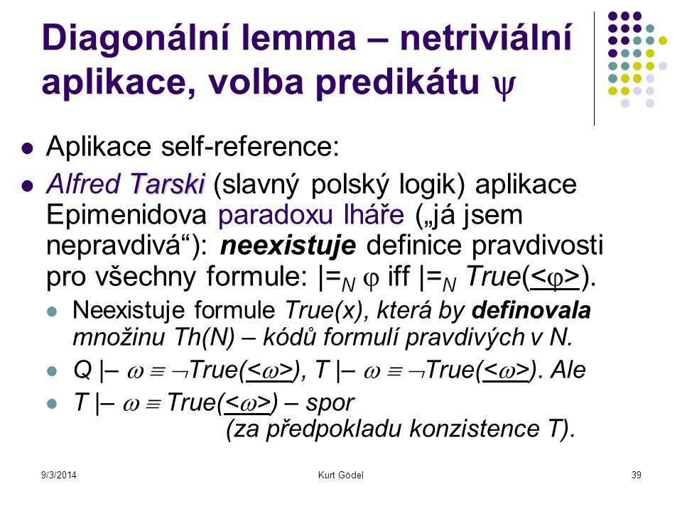 9/3/2014Kurt Gödel39 Diagonální lemma – netriviální aplikace, volba predikátu  Aplikace self-reference: Tarski Alfred Tarski (slavný polský logik) ap