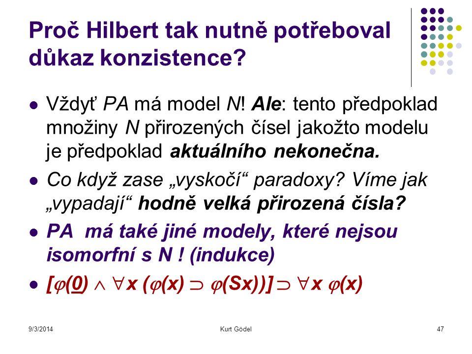 9/3/2014Kurt Gödel47 Proč Hilbert tak nutně potřeboval důkaz konzistence? Vždyť PA má model N! Ale: tento předpoklad množiny N přirozených čísel jakož