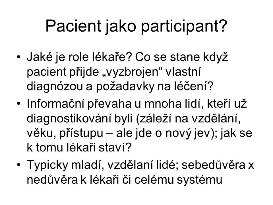 Pacient jako participant.Jaké je role lékaře.