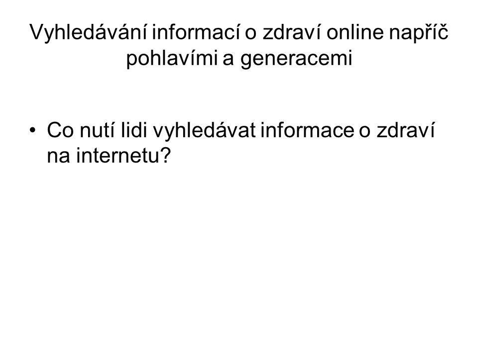 Vyhledávání informací o zdraví online napříč pohlavími a generacemi Co nutí lidi vyhledávat informace o zdraví na internetu?