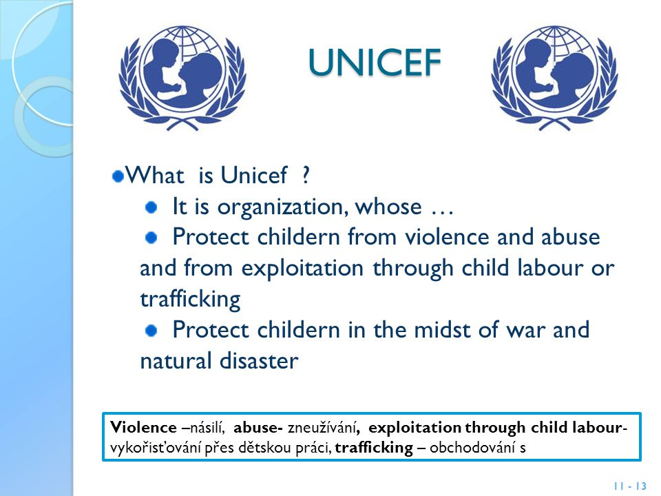 UNICEF 11 - 13 What is Unicef .