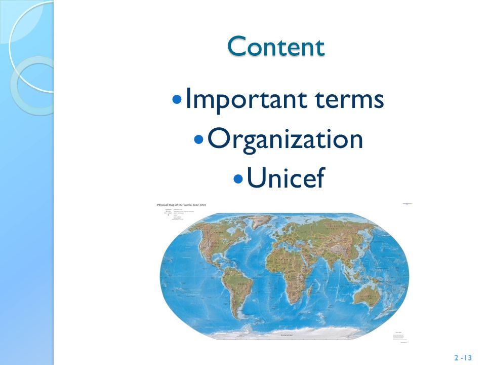 Content Important terms Organization Unicef 2 -13