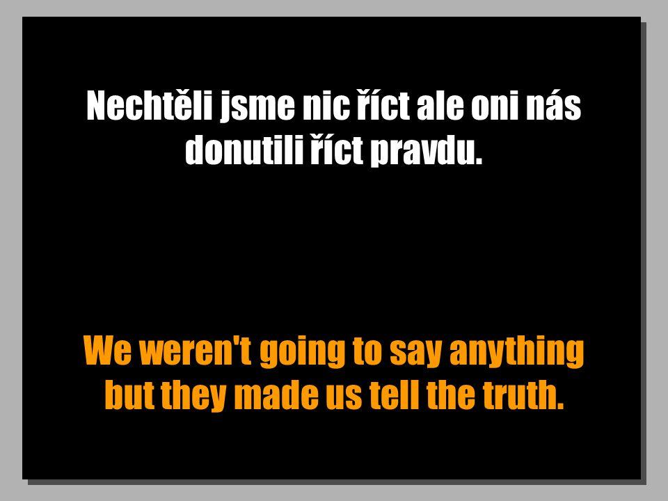 Nechtěli jsme nic říct ale oni nás donutili říct pravdu.
