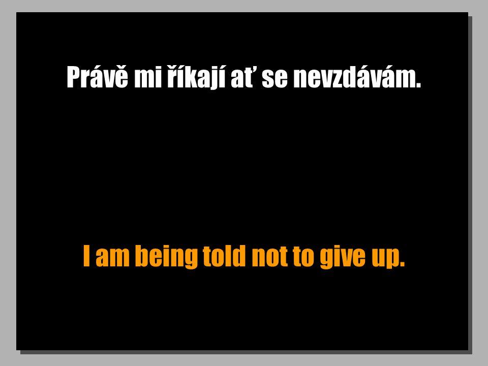 Právě mi říkají ať se nevzdávám. I am being told not to give up.