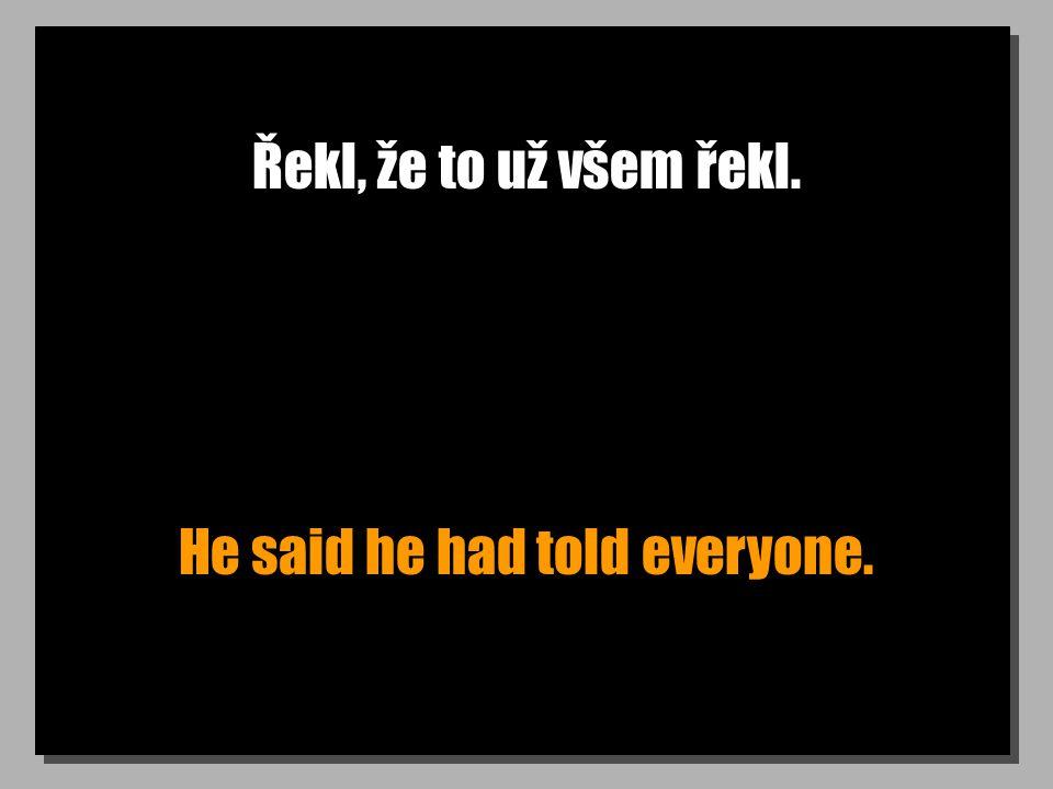 Řekl, že to už všem řekl. He said he had told everyone.