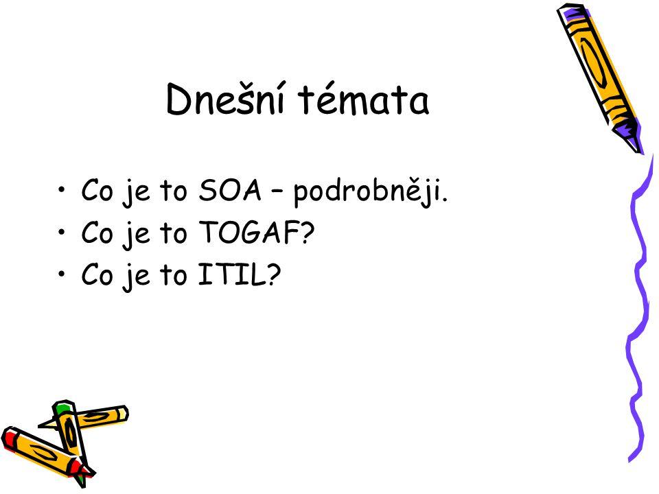 Dnešní témata Co je to SOA – podrobněji. Co je to TOGAF Co je to ITIL