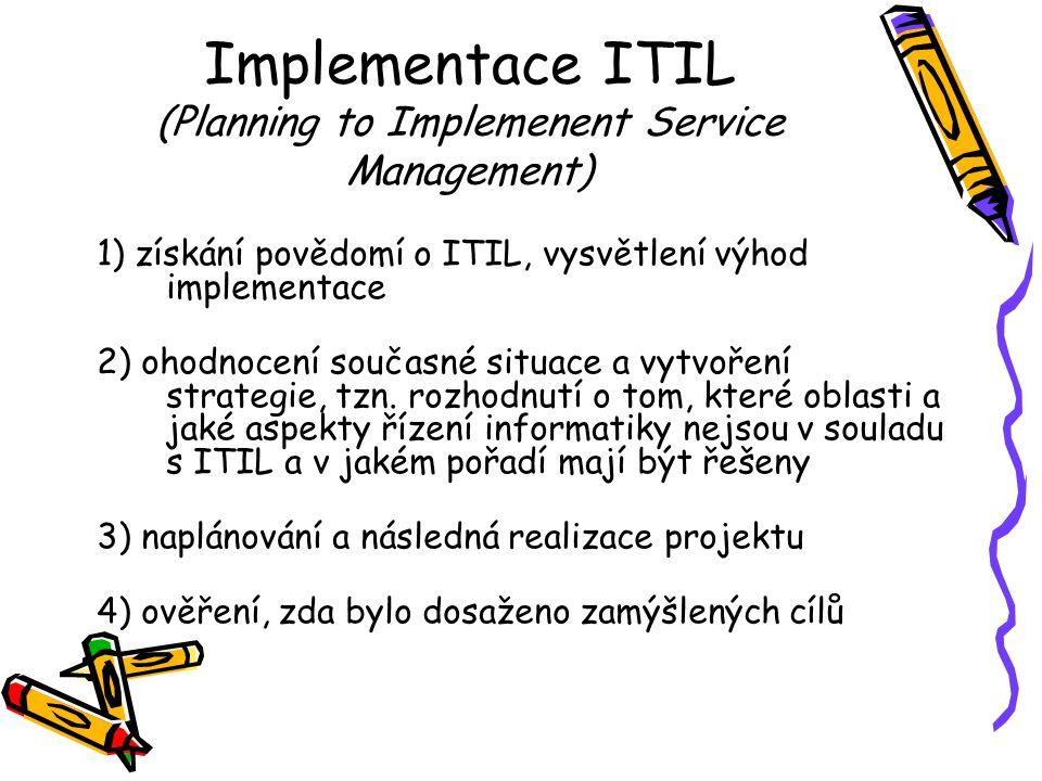 Implementace ITIL (Planning to Implemenent Service Management) 1) získání povědomí o ITIL, vysvětlení výhod implementace 2) ohodnocení současné situace a vytvoření strategie, tzn.