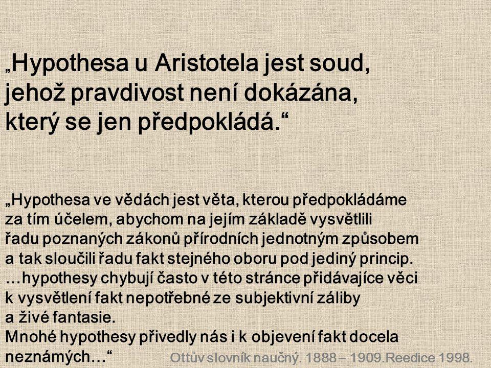 """"""" Hypothesa u Aristotela jest soud, jehož pravdivost není dokázána, který se jen předpokládá."""" Ottův slovník naučný. 1888 – 1909.Reedice 1998. """"Hypoth"""
