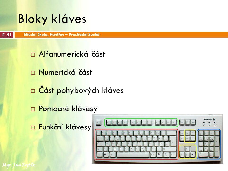 Bloky kláves  Alfanumerická část  Numerická část  Část pohybových kláves  Pomocné klávesy  Funkční klávesy F_21 Střední škola, Havířov – Prostřední Suchá Mgr.