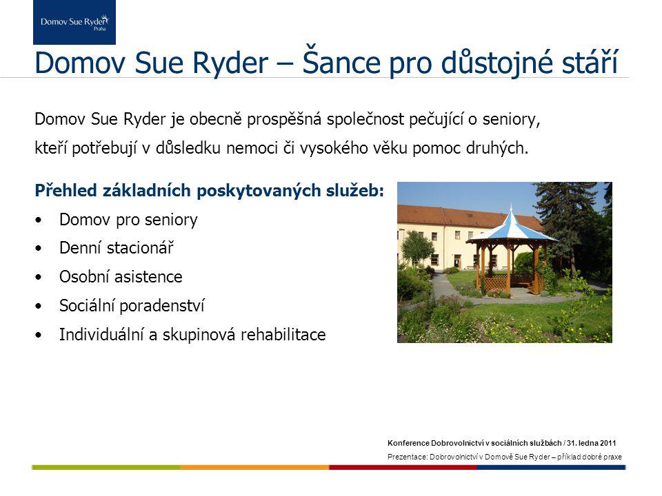 Konference Dobrovolnictví v sociálních službách / 31. ledna 2011 Prezentace: Dobrovolnictví v Domově Sue Ryder – příklad dobré praxe Domov Sue Ryder –