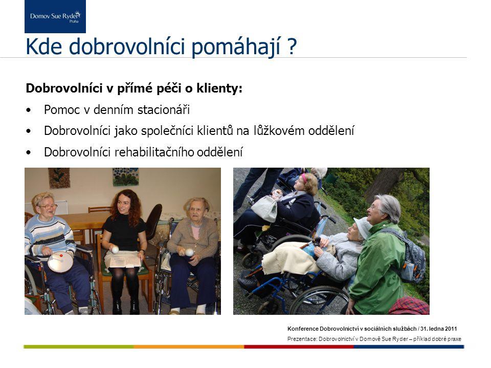 Konference Dobrovolnictví v sociálních službách / 31. ledna 2011 Prezentace: Dobrovolnictví v Domově Sue Ryder – příklad dobré praxe Kde dobrovolníci