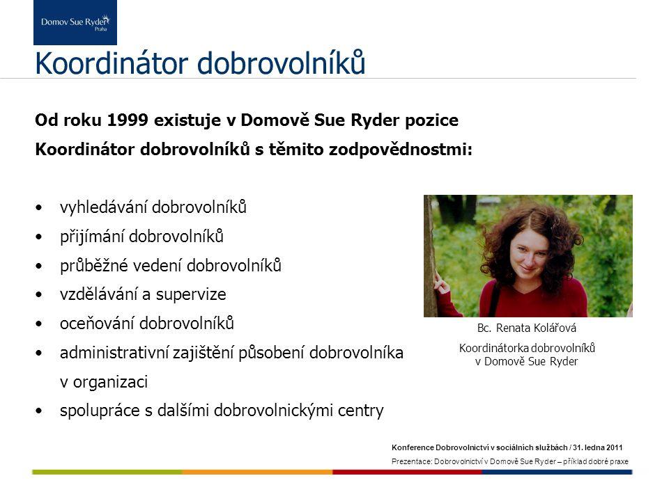 Konference Dobrovolnictví v sociálních službách / 31. ledna 2011 Prezentace: Dobrovolnictví v Domově Sue Ryder – příklad dobré praxe Koordinátor dobro