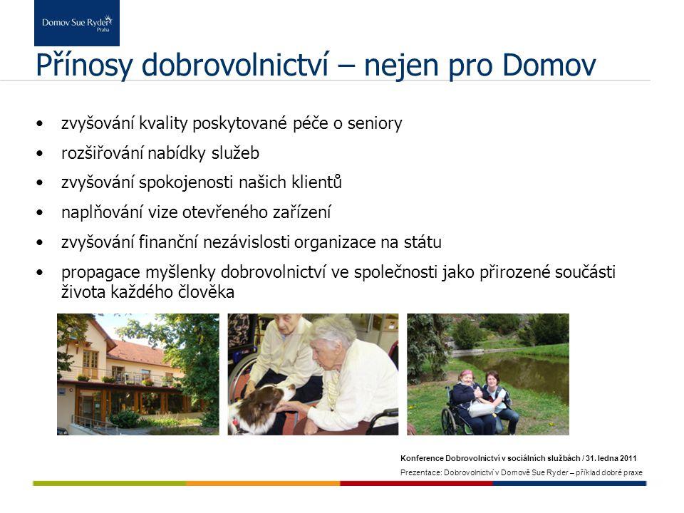Konference Dobrovolnictví v sociálních službách / 31. ledna 2011 Prezentace: Dobrovolnictví v Domově Sue Ryder – příklad dobré praxe Přínosy dobrovoln