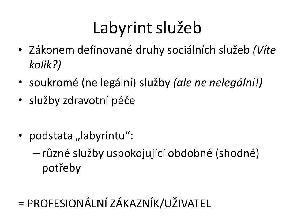 """Labyrint služeb Zákonem definované druhy sociálních služeb (Víte kolik ) soukromé (ne legální) služby (ale ne nelegální!) služby zdravotní péče podstata """"labyrintu : – různé služby uspokojující obdobné (shodné) potřeby = PROFESIONÁLNÍ ZÁKAZNÍK/UŽIVATEL"""