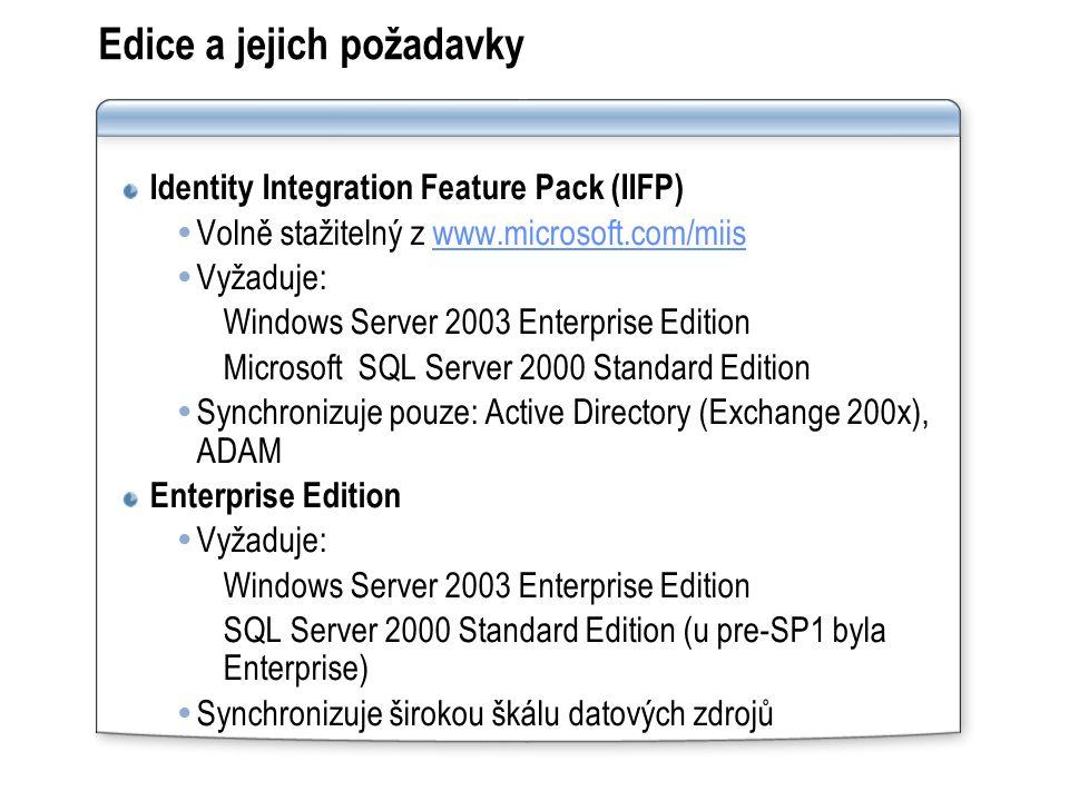 Edice a jejich požadavky Identity Integration Feature Pack (IIFP)  Volně stažitelný z www.microsoft.com/miiswww.microsoft.com/miis  Vyžaduje: Windows Server 2003 Enterprise Edition Microsoft SQL Server 2000 Standard Edition  Synchronizuje pouze: Active Directory (Exchange 200x), ADAM Enterprise Edition  Vyžaduje: Windows Server 2003 Enterprise Edition SQL Server 2000 Standard Edition (u pre-SP1 byla Enterprise)  Synchronizuje širokou škálu datových zdrojů