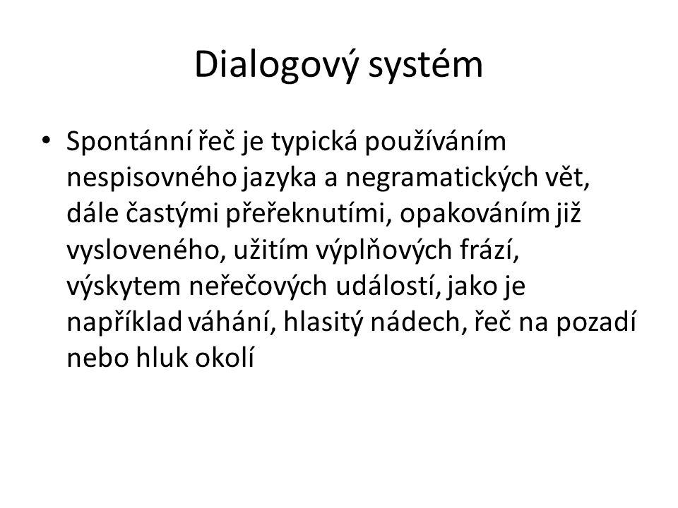 Dialogový systém Spontánní řeč je typická používáním nespisovného jazyka a negramatických vět, dále častými přeřeknutími, opakováním již vysloveného, užitím výplňových frází, výskytem neřečových událostí, jako je například váhání, hlasitý nádech, řeč na pozadí nebo hluk okolí