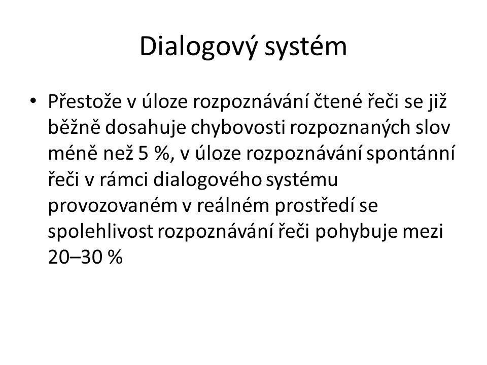Dialogový systém Přestože v úloze rozpoznávání čtené řeči se již běžně dosahuje chybovosti rozpoznaných slov méně než 5 %, v úloze rozpoznávání spontánní řeči v rámci dialogového systému provozovaném v reálném prostředí se spolehlivost rozpoznávání řeči pohybuje mezi 20–30 %