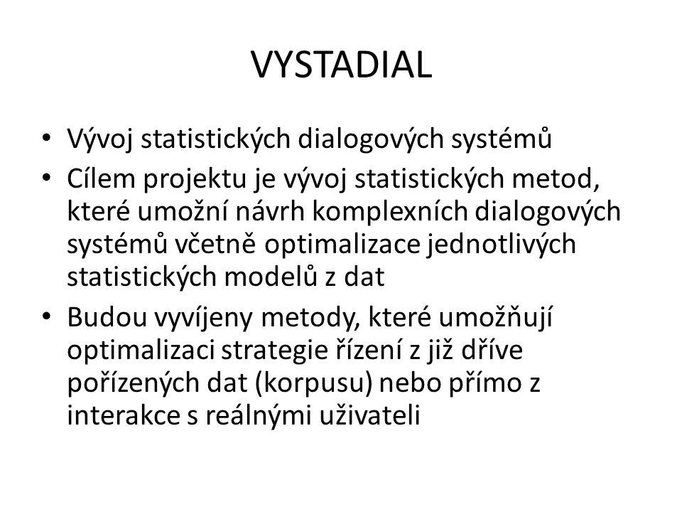 Dialogový systém Komponenta porozumění přirozenému jazyku převádí textový přepis řeči do sémantické reprezentace Mezi používané formalismy reprezentace sémantické informace patří dialogové akty (Austin, 1962), sémantické rámce (Psutka & Müller ad., 2006), lambda kalkulus (Zettlemoyer & Collins, 2007)