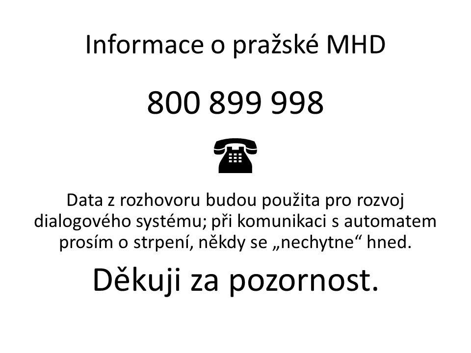 """Informace o pražské MHD 800 899 998  Data z rozhovoru budou použita pro rozvoj dialogového systému; při komunikaci s automatem prosím o strpení, někdy se """"nechytne hned."""