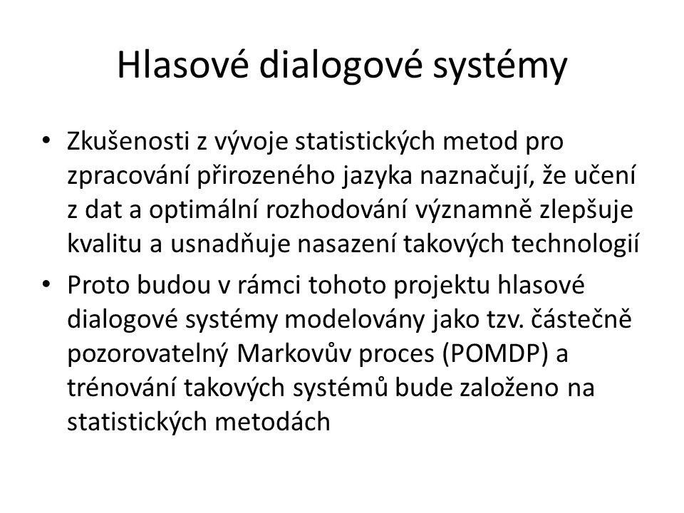 VYSTADIAL Ačkoliv se projekt bude zabývat především vývojem statistických metod pro popis a poznání zákonitostí dialogu v přirozeném jazyce, a tedy bude převážně výzkumem základním, hmatatelným výsledkem projektu bude prototyp dialogového systému a metody pro jeho trénování z dat Vývoj a popis těchto technologií následně povede ke zvýšení robustnosti a přirozenosti dialogových systémů za současného snížení nákladů na jejich uvedení do provozu
