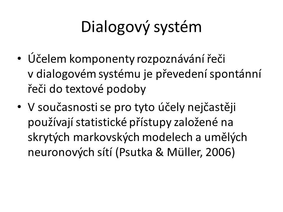 Dialogový systém V obou přístupech se model rozpoznávání řeči dělí na model akustický, který modeluje, jak se jednotlivé hlásky slov vyslovují, a na model jazykový, který modeluje, jak se řadí slova do vět Dialogové systémy musí pracovat se spontánní řečí, která se významně liší od řeči čtené