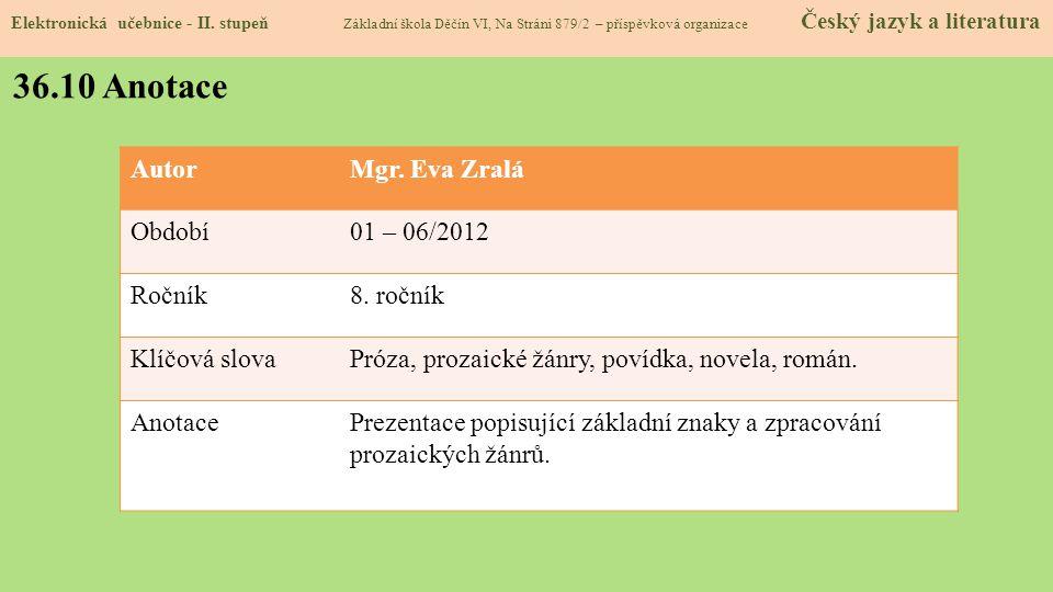 Elektronická učebnice - II. stupeň Základní škola Děčín VI, Na Stráni 879/2 – příspěvková organizace Český jazyk a literatura 36.10 Anotace AutorMgr.