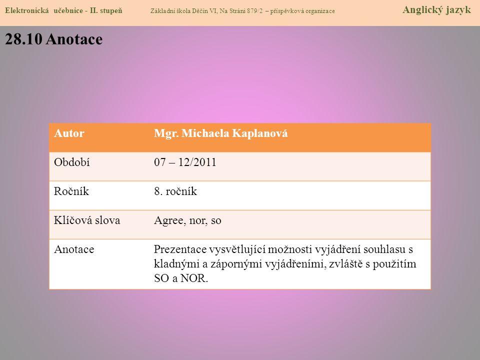 28.10 Anotace Elektronická učebnice - II.