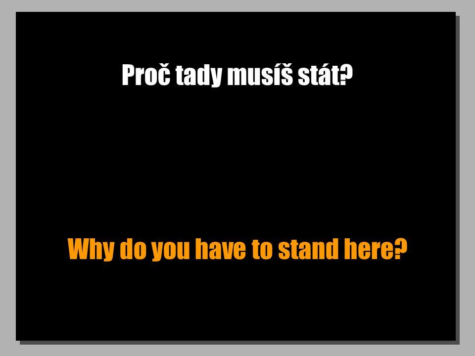 Proč tady musíš stát? Why do you have to stand here?