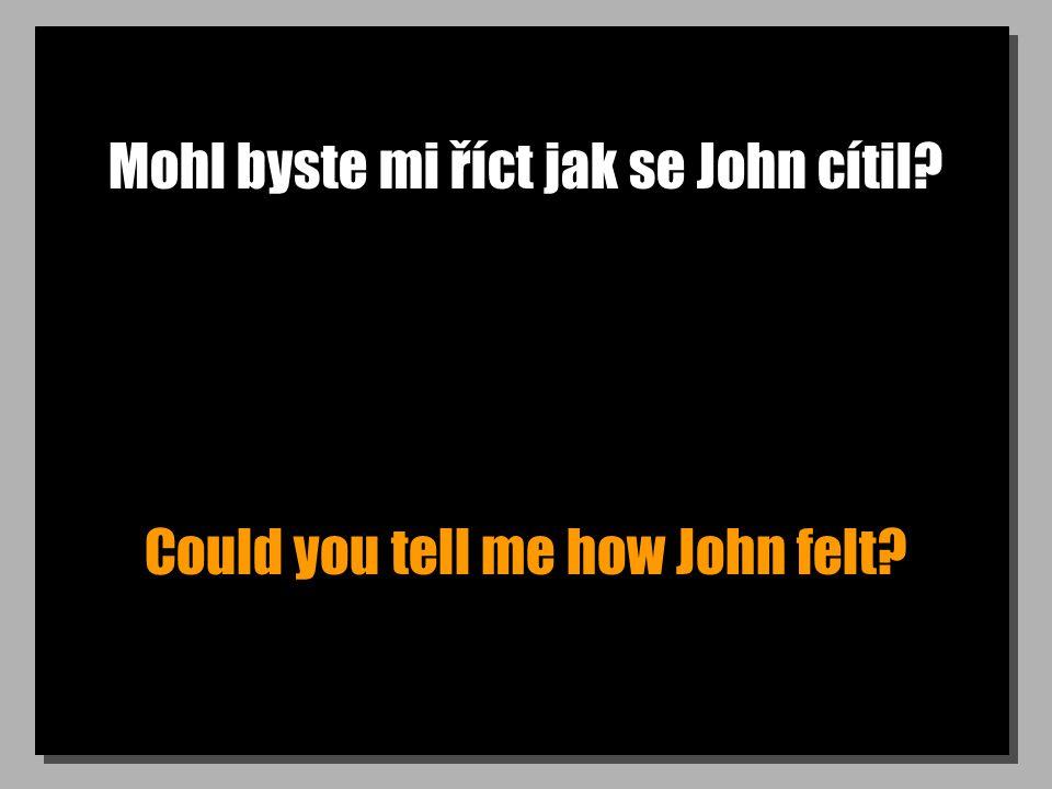 Mohl byste mi říct jak se John cítil? Could you tell me how John felt?