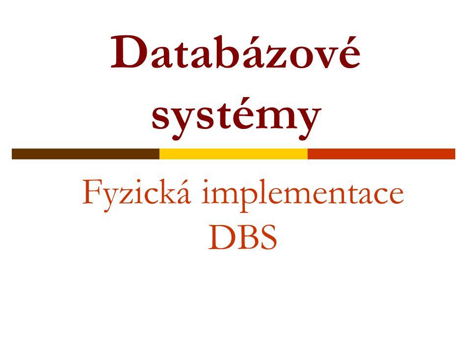 Databázové systémy Fyzická implementace DBS