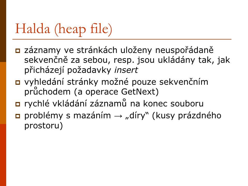 Halda (heap file)  záznamy ve stránkách uloženy neuspořádaně sekvenčně za sebou, resp.
