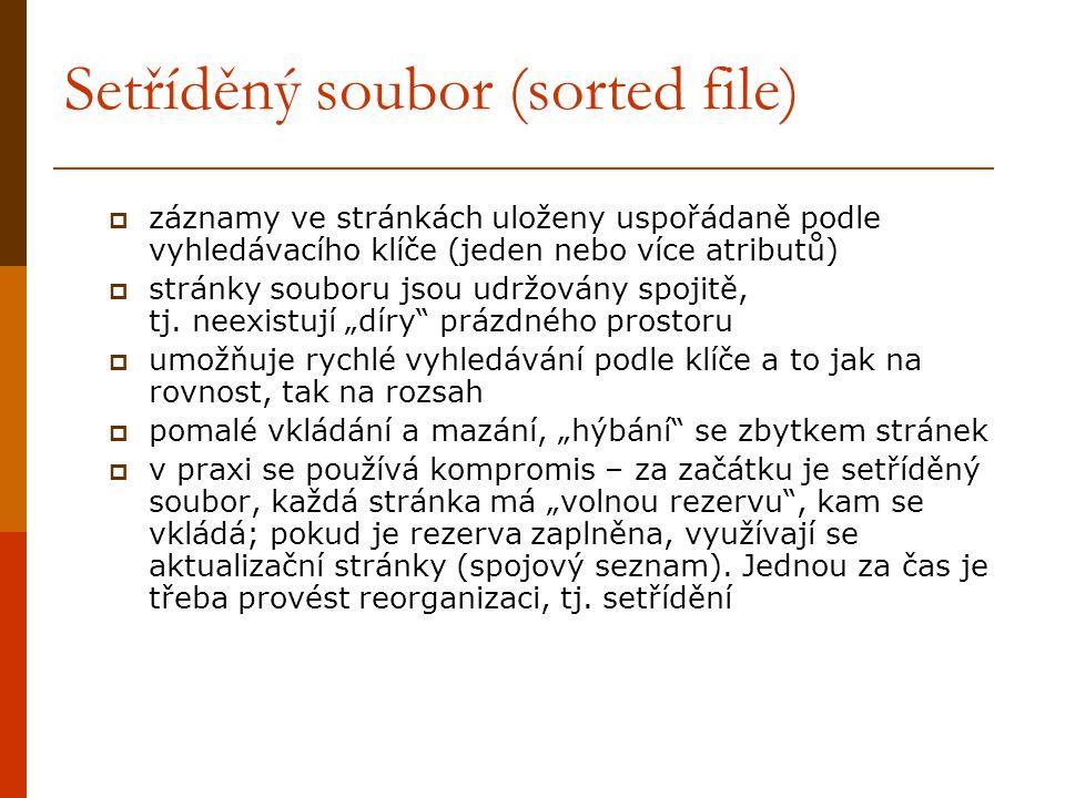 Setříděný soubor (sorted file)  záznamy ve stránkách uloženy uspořádaně podle vyhledávacího klíče (jeden nebo více atributů)  stránky souboru jsou udržovány spojitě, tj.