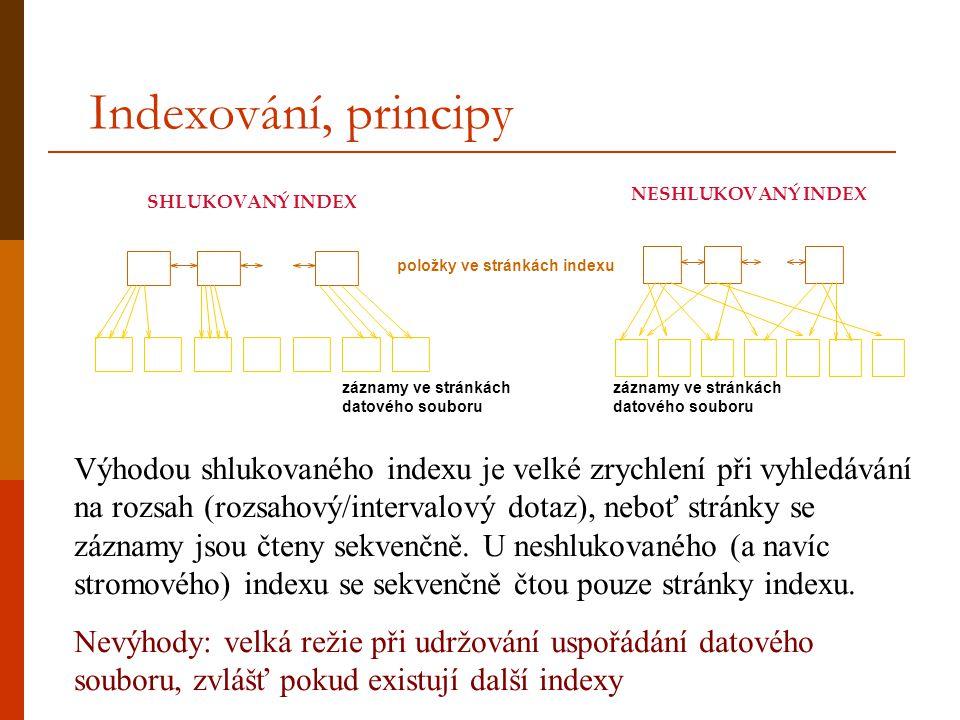 Indexování, principy položky ve stránkách indexu záznamy ve stránkách datového souboru SHLUKOVANÝ INDEX NESHLUKOVANÝ INDEX Výhodou shlukovaného indexu je velké zrychlení při vyhledávání na rozsah (rozsahový/intervalový dotaz), neboť stránky se záznamy jsou čteny sekvenčně.