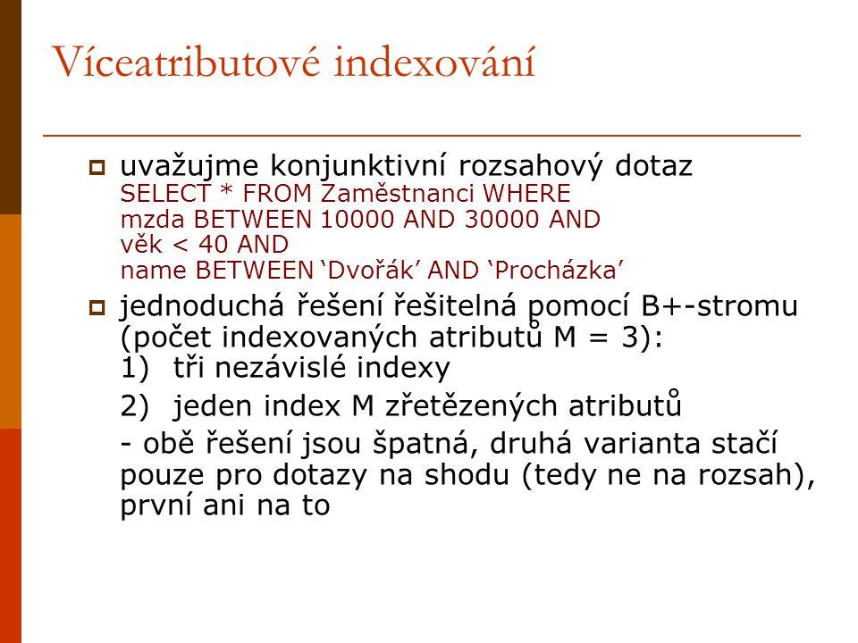 Víceatributové indexování  uvažujme konjunktivní rozsahový dotaz SELECT * FROM Zaměstnanci WHERE mzda BETWEEN 10000 AND 30000 AND věk < 40 AND name BETWEEN 'Dvořák' AND 'Procházka'  jednoduchá řešení řešitelná pomocí B+-stromu (počet indexovaných atributů M = 3): 1)tři nezávislé indexy 2)jeden index M zřetězených atributů - obě řešení jsou špatná, druhá varianta stačí pouze pro dotazy na shodu (tedy ne na rozsah), první ani na to