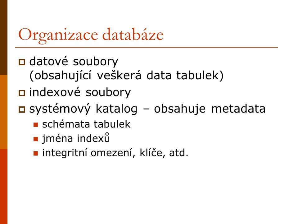 Organizace databáze  datové soubory (obsahující veškerá data tabulek)  indexové soubory  systémový katalog – obsahuje metadata schémata tabulek jména indexů integritní omezení, klíče, atd.