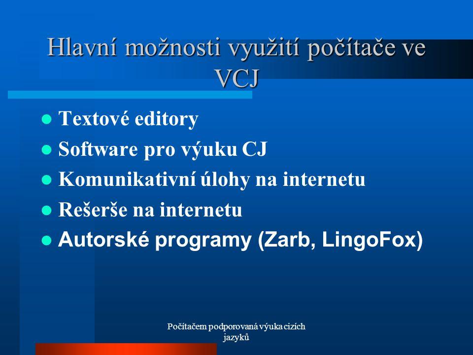 Počítačem podporovaná výuka cizích jazyků Hlavní možnosti využití počítače ve VCJ Textové editory Software pro výuku CJ Komunikativní úlohy na internetu Rešerše na internetu Autorské programy (Zarb, LingoFox)