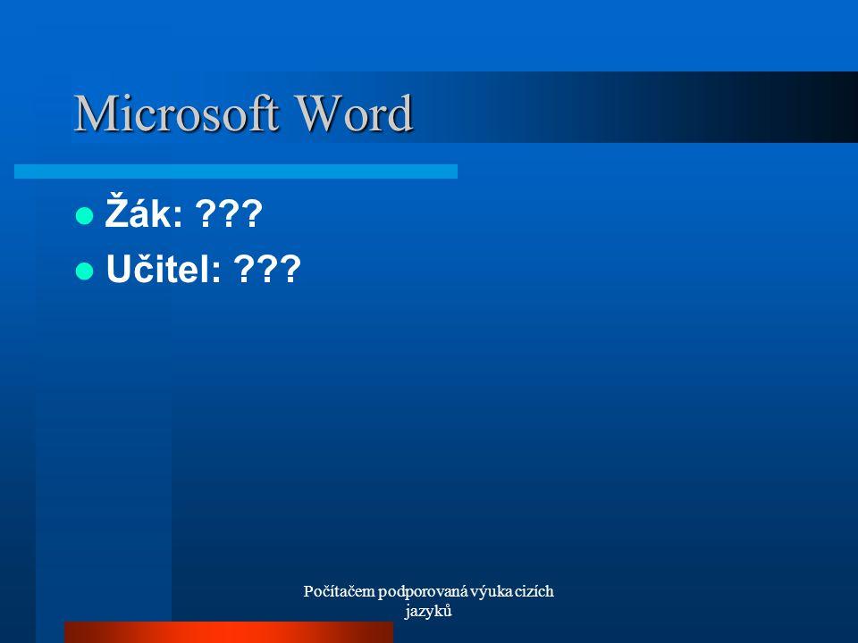 Počítačem podporovaná výuka cizích jazyků Microsoft Word Žák: Učitel:
