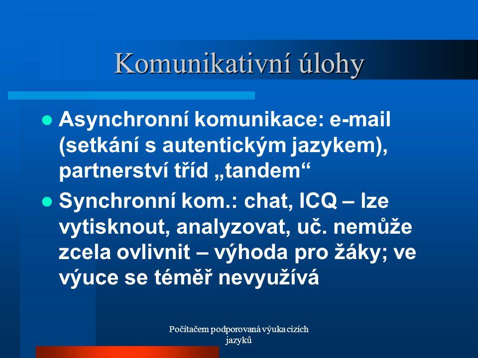 """Počítačem podporovaná výuka cizích jazyků Komunikativní úlohy Asynchronní komunikace: e-mail (setkání s autentickým jazykem), partnerství tříd """"tandem Synchronní kom.: chat, ICQ – lze vytisknout, analyzovat, uč."""