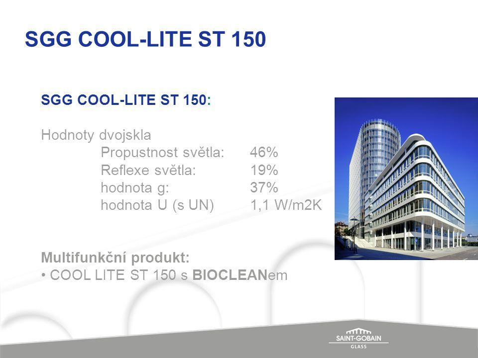SGG COOL-LITE ST 150: Hodnoty dvojskla Propustnost světla: 46% Reflexe světla:19% hodnota g:37% hodnota U (s UN)1,1 W/m2K Multifunkční produkt: COOL L