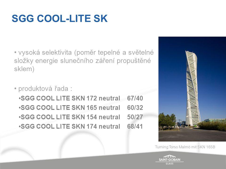 vysoká selektivita (poměr tepelné a světelné složky energie slunečního záření propuštěné sklem) produktová řada : SGG COOL LITE SKN 172 neutral 67/40