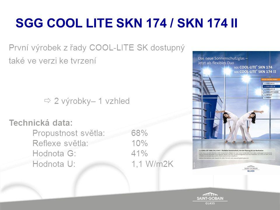 SGG COOL LITE SKN 174 / SKN 174 II První výrobek z řady COOL-LITE SK dostupný také ve verzi ke tvrzení  2 výrobky– 1 vzhled Technická data: Propustno
